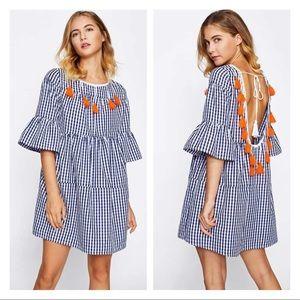 SHEIN • Gingham Bell Sleeve Dress Sz L